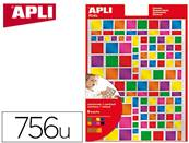 Gommettes carres apli kids permanentes couleurs metal assorties dim. 160x216mm - pochette de 756 u
