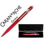 CARAN D'ACHE STYLO-BILLE RÉTRACTABLE 849 POP LINE FLUO METAL ROUGE, ENCRE BLEUE