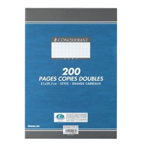 CONQUERANT - COPIES DOUBLES A4 21X29,7CM 200 FEUILLES BLANCHES 70G SEYES NON PERFOREES