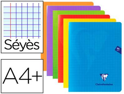 CLAIREFONTAINE - CAHIER PIQUE COUVERTURE POLYPRO A4+ 24X32CM 96 P. 90G SEYES INCOLORE