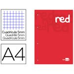 LIDERPAPEL - 100 pages - copie simple détachables A4 petits carreaux bande de couleur rouge 70g/m²