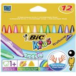 BIC KIDS étui carton de 12 - craie de coloriage - plastidecor triangle ø 12 mm