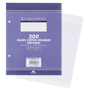 CONQUERANT - COPIES DOUBLES A5+ 17X22CM 200 FEUILLES BLANCHES 70G SEYES PERFOREES 2 TROUS
