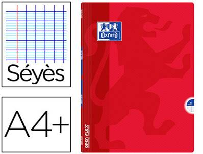 OXFORD - CAHIER AGRAFE OPENFLEX COUVERTURE POLYPRO A4+ 24X32CM 96 P. 90G SEYES COLORIS ROUGE