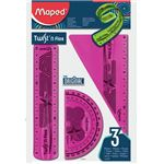 MAPED - kit - twist'n'fix souple incassable règle 15 cm + équerre 60° 15 cm + rapporteur 180°