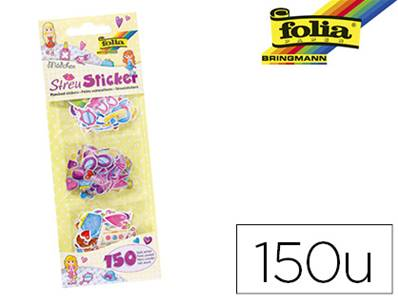 Petits autocollants folia motifs fille - paquet de 150 pieces