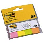 POST-IT étui lot de 4 blocs neon marque pages papier repositionnables 50 feuilles 20x38 assortis