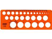 Normographe minerva cercles impairs / pairs sp n.18 diametre 1mm a 30mm en plastique coloris orange