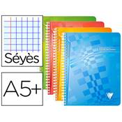 CLAIREFONTAINE CAHIER TEXTES 17X22 144 PAGES 90G SEYES POLYPRO CRYSTALLINE RELIURE INTEGRALE