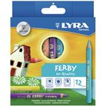 "LYRA ETUI DE 12 CRAYONSS DE COULEUR FERBY TRIANGLE 6,5X10 ""CRAYONS TRIANGULAIRES GROS MODULES"""