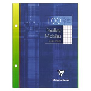 CLAIREFONTAINE - FEUILLES SIMPLES A5+ 17X22CM 100 FEUILLES BLANCHES 90G 5X5MM PERFOREES