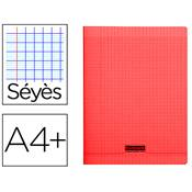 CAHIER PIQUE 24X32 96 PAGES SEYES COUVERTURE POLYPROPYLENE ROUGE