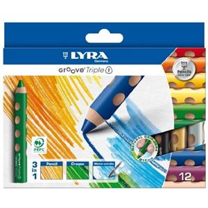 LYRA étui de 12 - crayons de couleur - groove triple one (3 en 1) diam 10 aquarellable