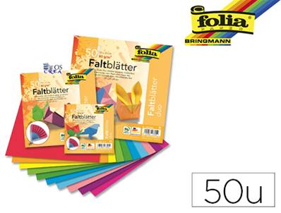 FOLIA feuilles papier double face 80g/m² 150x150mm 10 couleurs assorties - paquet de 50 unités
