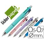 LIDERPAPEL - stylo bille/ porte mine - stylo 5 en 1, 4 couleurs pointe moyenne + porte-mine