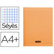 CAHIER PIQUE 24X32 96 PAGES SEYES COUVERTURE POLYPROPYLENE ORANGE