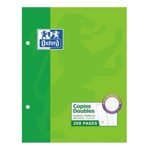 OXFORD - COPIES DOUBLES A5+ 17X22CM 200 FEUILLES BLANCHES 90G SEYES PERFOREES