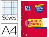 OXFORD cahier feuillets mobiles school a4 perforées 4 trous seyes 90 g 300 pages