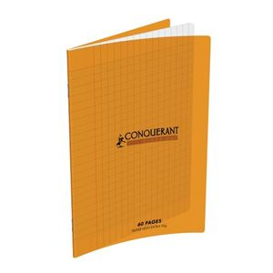 CONQUERANT CAHIER 17x22 60 PAGES 90G SEYES (grds carreaux) PIQUE POLYPROPYLENE ORANGE