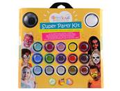 Maquillage a l'eau oz international grim'tout super party kit 17 couleurs + 2 eponges + 2 pinceaux