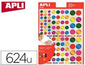 Gommettes rondes apli kids permanentes couleurs metal assorties dim. 160x216mm - pochette de 624 u