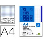 LIDERPAPEL - 100 pages - copie simple détachables A4 petits carreaux bande de couleur bleue 70g/m²